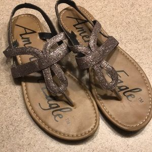 American eagle glitter bling strappy flats sandals